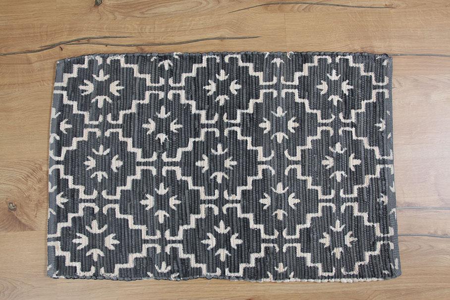 Teppich jeansblau, weiss Muster, Baumwolle 60x90cm