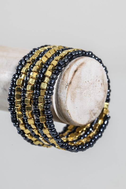 armband mit perlen grau goldfarben online kaufen bei. Black Bedroom Furniture Sets. Home Design Ideas
