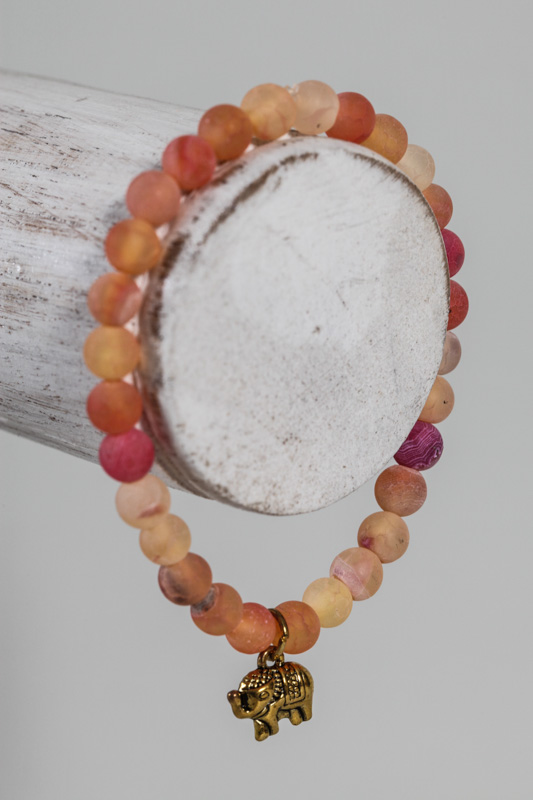 Armband Achat orange mit Elefant
