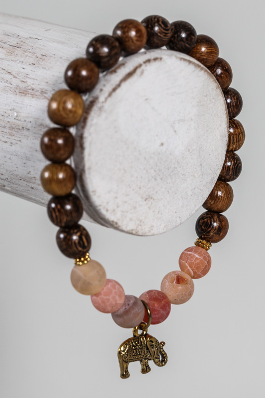 Armband Achat/Holzperlen orange/braun mit Elefant