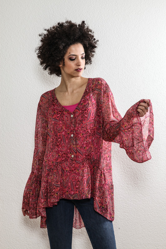 Bluse rot Paisleymuster - One Size