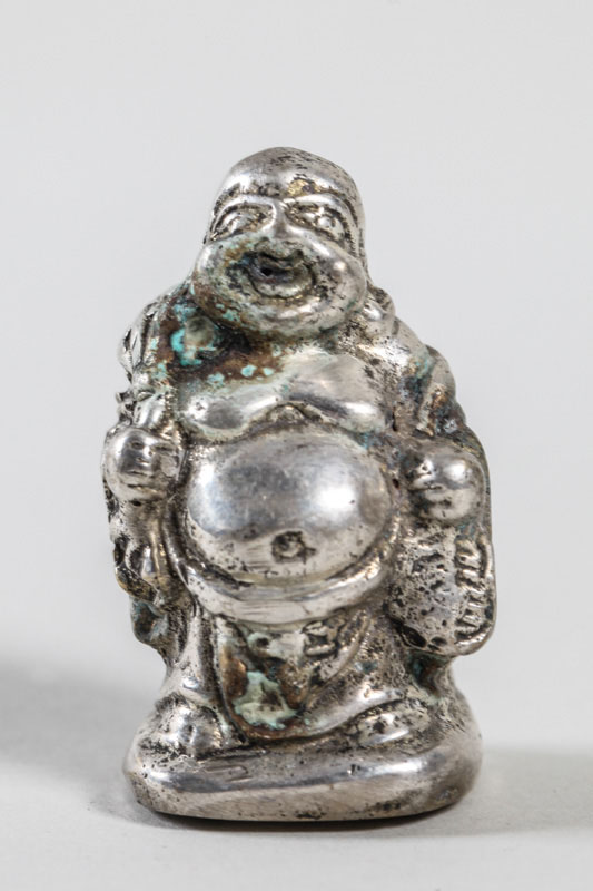 Happy Buddha Bronze silberfarben
