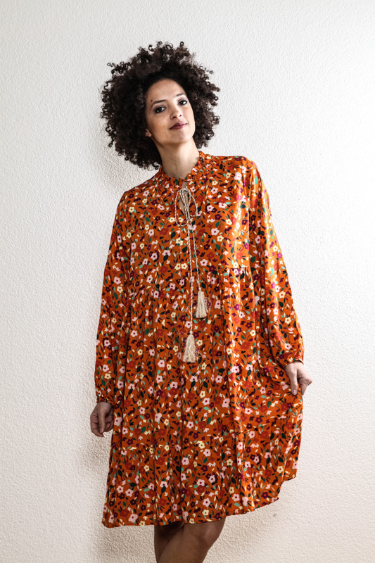 Kleid langarm orange gemustert - One Size