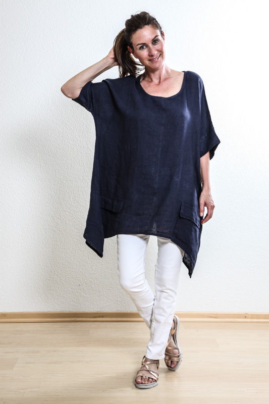 Top Leinen blau - One Size