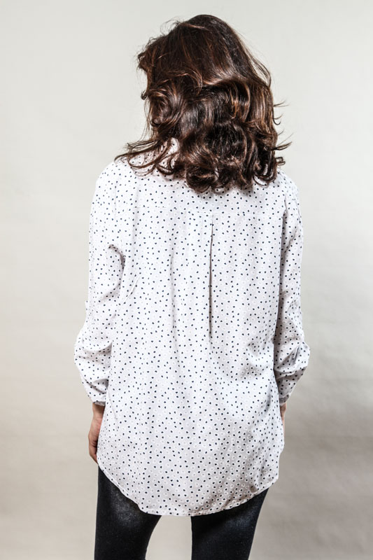Bluse gemustert weiss - One Size